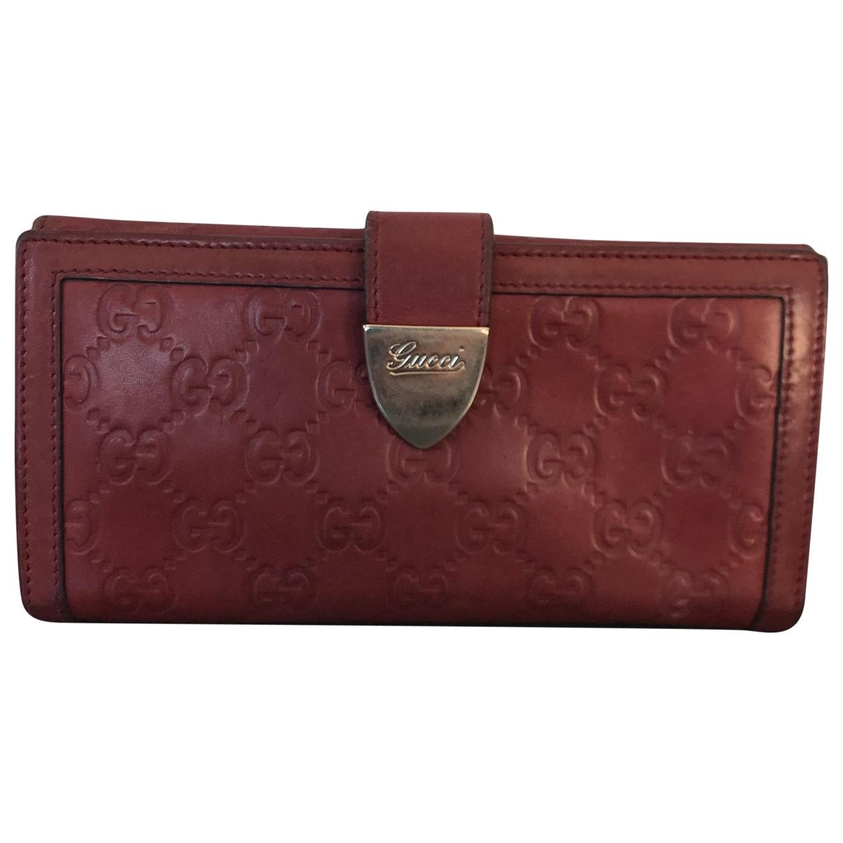 Gucci - Portefeuille   pour femme en cuir - rouge