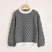 Lantern Sleeve Argyle Pattern Sweater