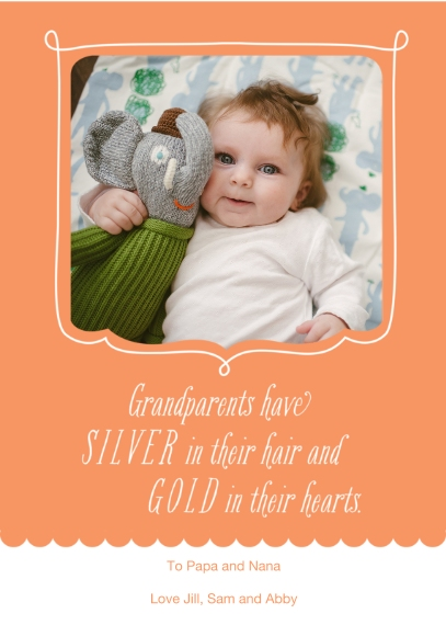 Grandparent's Day Mail-for-Me Premium 5x7 Folded Card , Card & Stationery -Silver and Gold
