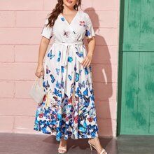 Plus Butterfly Print Belted Maxi Dress