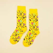 1pair Cartoon Graphic Socks