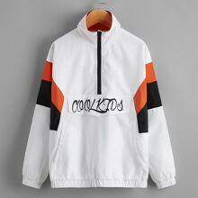Winddichte Jacke mit Buchstaben Grafik und halber Reissverschlussleiste
