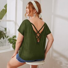 Plus Batwing Sleeve Strappy Back Top