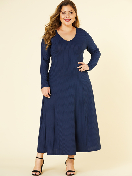YOINS Plus Size Navy V Neck Long Sleeves Jersey Dress
