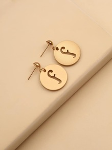 Hollow Out Letter Charm Drop Earrings