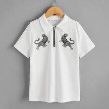 Polo Shirt mit Tiger Muster und halber Reissverschlussleiste