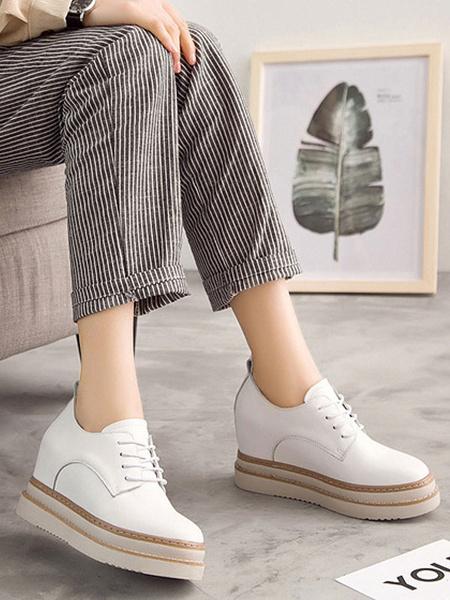 Milanoo Trendy Oxfords Chic Color Block Round Toe PU Leather