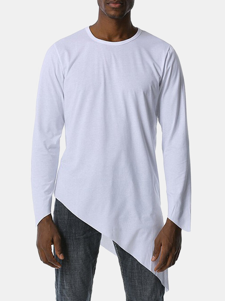 Mens Modal Plain Irregular Hem Casual Fit Round Neck Long Sleeve T-Shirt