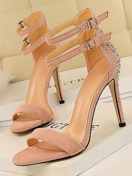 Milanoo High Heel Sandals Womens Rhinestones Open Toe Double Ankle Straps Stiletto Heel Sandals