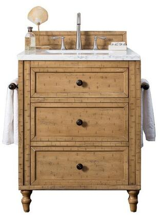 Copper Cove Collection 300-V26-DRP-3CLW 26 Single Vanity Cabinet  Driftwood Patina  with 3 CM Classic White Quartz Top with