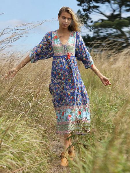Milanoo Boho Dresses Floral Print Women Long Sleeve V Neck Tassels Beach Summer Dress