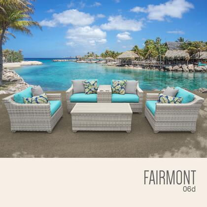 FAIRMONT-06d-ARUBA Fairmont 6 Piece Outdoor Wicker Patio Furniture Set 06d with 2 Covers: Beige and
