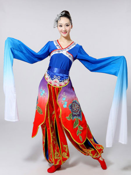 Milanoo Women Classical Dance Costumes Chinese Jinghong Dance Long Sleeve Performance Costumes Halloween