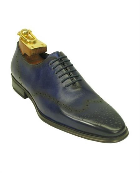 Men's Leather Lace Up Style Fashionable Shoes Blue