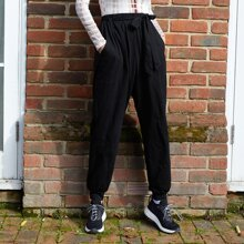 Self Belted Solid Pants