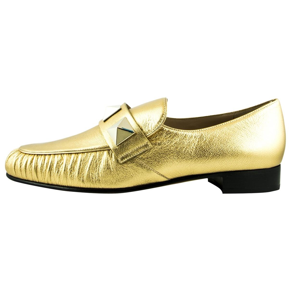 Valentino Garavani Rockstud Gold Leather Flats for Women 38 EU