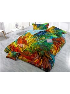 Colorful Vortex Wear-resistant Breathable High Quality 60s Cotton 4-Piece 3D Bedding Sets