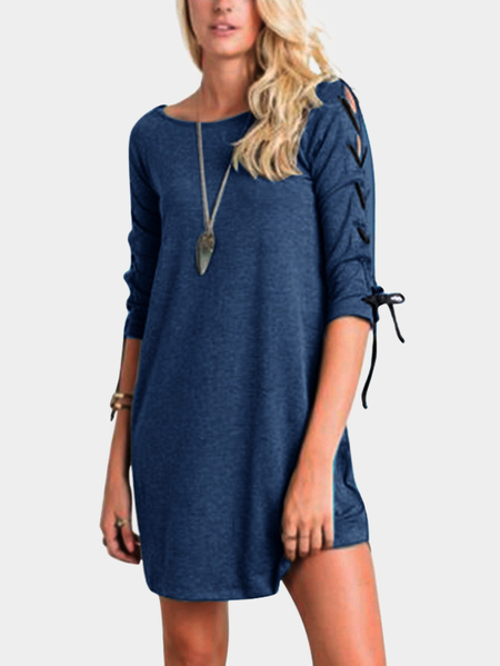 Yoins Blue Lace-up Design Round Neck Half Sleeves Dresses