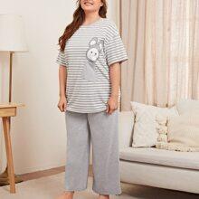 Conjunto de pijama top de rayas con estampado de dibujos animados con pantalones