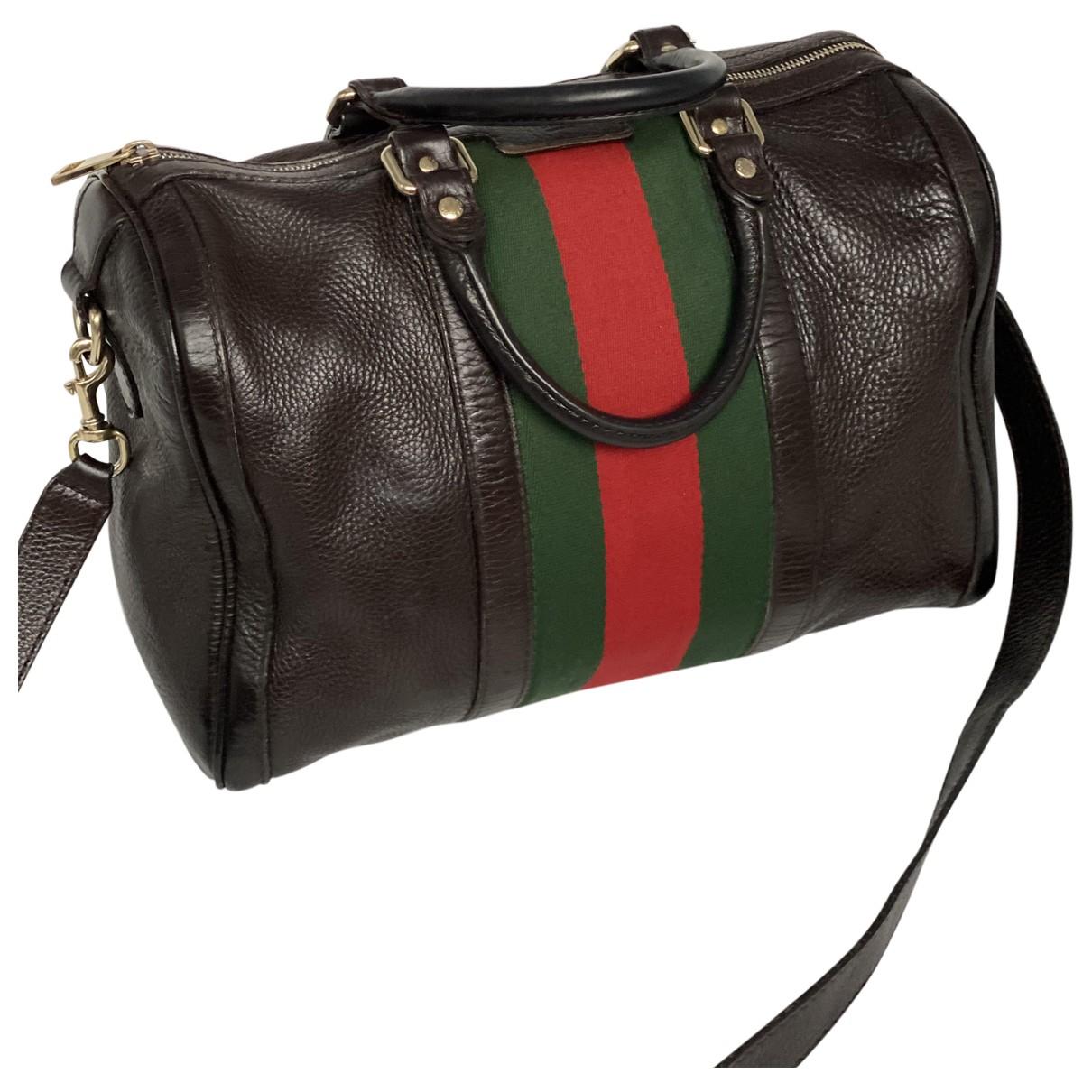 Gucci Boston Handtasche in  Braun Leder