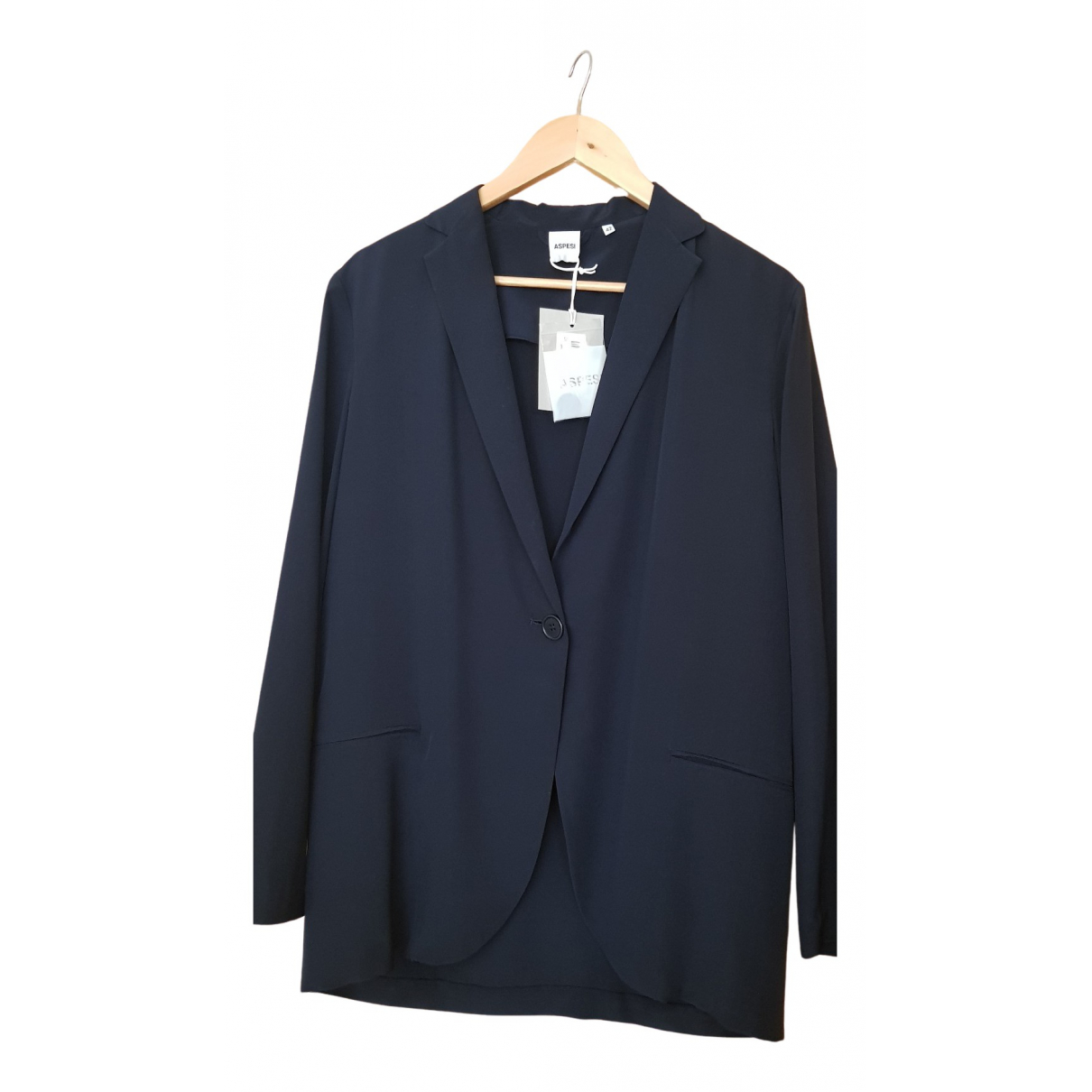Aspesi - Veste   pour femme en soie - bleu