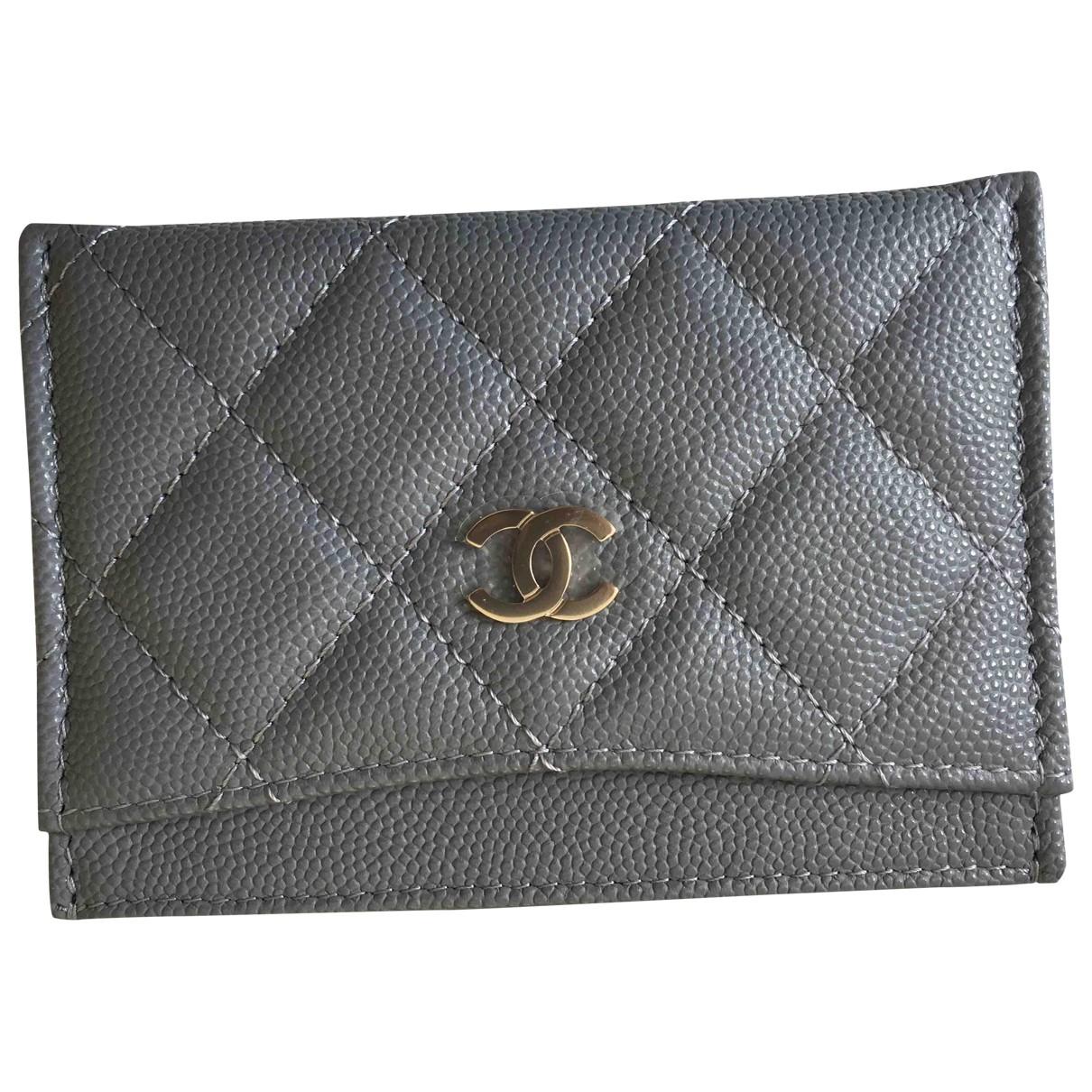 Chanel - Petite maroquinerie Timeless/Classique pour femme en cuir - gris