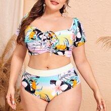 Bikini Badeanzug mit Blumen & Vogel Muster und Ruesche