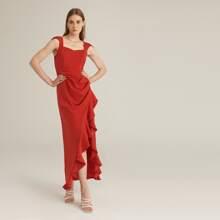Ruched Asymmetrical Ruffle Hem Solid Dress