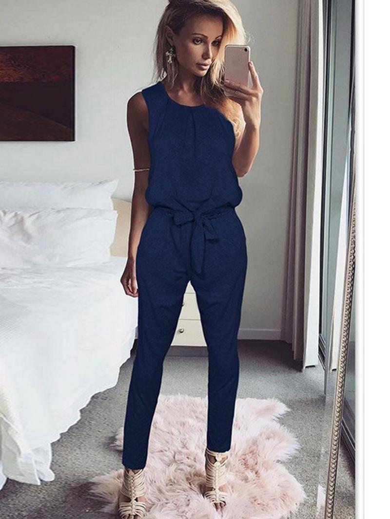 Ericdress Plain Patchwork Full Length Mid-Waist Loose Jumpsuit