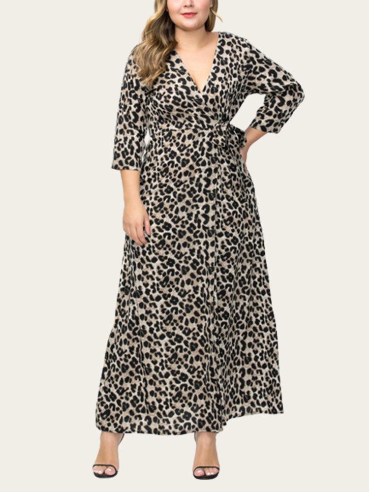 Leopard Elastic Waist Half Sleeve V-neck Maxi Plus Size Dress