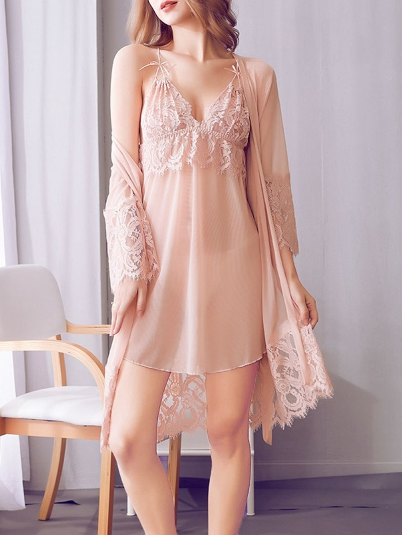 Ericdress Sexy Plain Lace Nine Points Sleeve Nightgown Pajama Suit