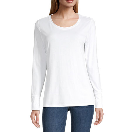 a.n.a-Womens Scoop Neck Long Sleeve T-Shirt, Petite X-large , White