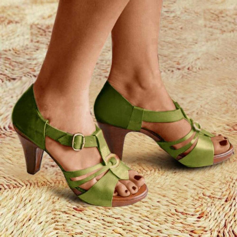 Women Hollow Comfy Wearable Peep Toe Fashion T-Strap Pumps