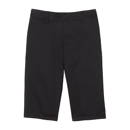 French Toast Flat Front Short Little & Big Boys Mid Rise Stretch Adjustable Waist Chino Short, 6 , Black