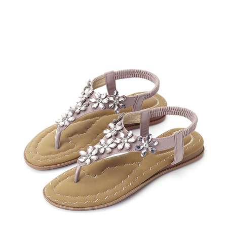 Yoins Pink Jewelry Embellished Flat Sandals