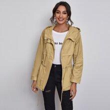Zip Up Drawstring Hooded Coat