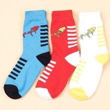 3 Paare Socken mit Streifen Muster