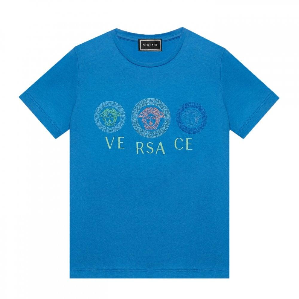 Versace Triple Medusa T-shirt Colour: BLUE, Size: 14 YEARS