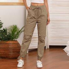 Drawstring Waist Flap Pocket Cargo Pants