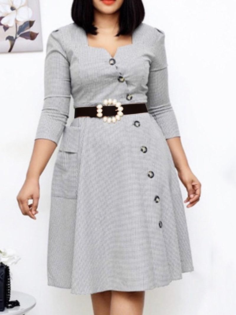 Ericdress Pocket Three-Quarter Sleeve V-Neck Regular Plaid Dress