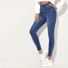 Cat Whiskers Button Front Skinny Jeans