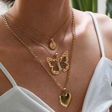 Schmetterling & herzformige geschichtete Kette Halskette 1pc