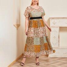 Ubergrosses A Linie Kleid mit Blumen Muster und Plissee