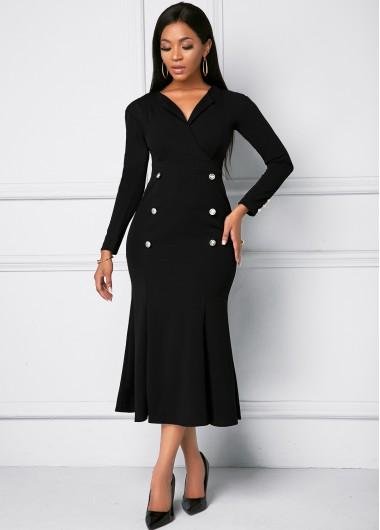 Black Dresses Black Button Long Sleeve Mermaid Dress - L