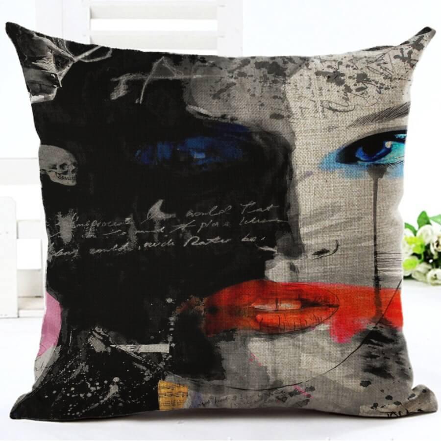 LW Lovely Basic Print Black Decorative Pillow Case