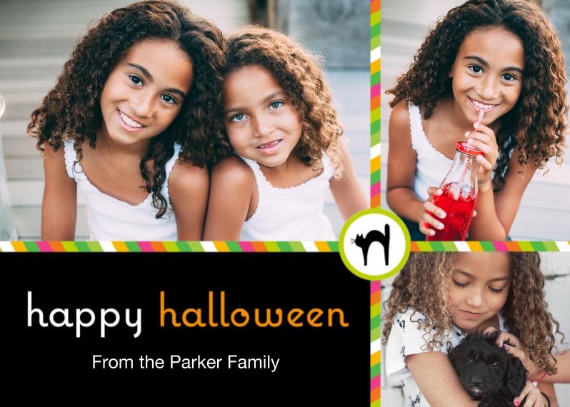 Halloween Photo Cards 5x7 Folded Cards, Standard Cardstock 85lb, Card & Stationery -Posh Paper Halloween Black Cat Folded