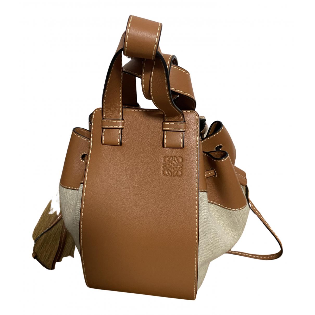 Loewe Hammock Handtasche in  Braun Leinen