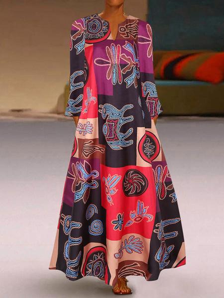 Milanoo Vestidos largos de mujer Escote con muesca Manga larga Vestido largo largo con estampado floral