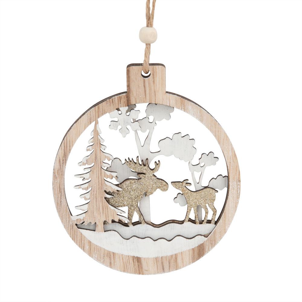 Weihnachtliche Haengedeko, Medaillon mit Baeumen und Rentieren