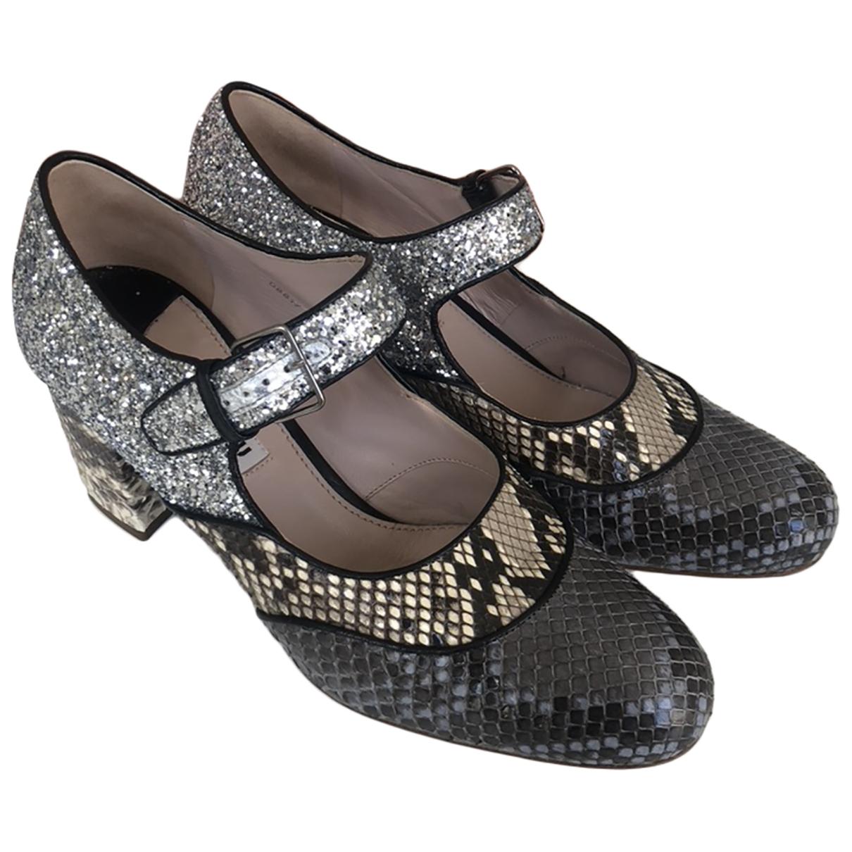 Miu Miu \N Silver Python Heels for Women 37 EU